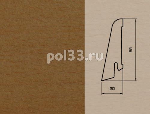 Плинтуса и пороги Pedross Шпонированный 58/20мм Бук коричневый купить в Калуге по низкой цене