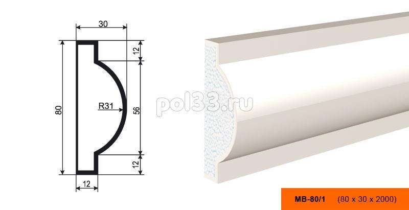 Молдинг Lepninaplast (Лепнинапласт) МВ-80-1 купить в Калуге по низкой цене