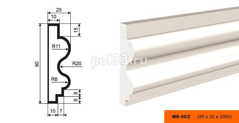Молдинг Lepninaplast (Лепнинапласт) МВ-90-2 купить в Калуге по низкой цене
