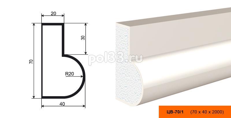 Молдинг цокольный Lepninaplast (Лепнинапласт) ЦВ-70-1 купить в Калуге по низкой цене