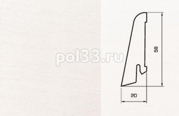 Плинтуса и пороги Pedross Шпонированный 58/20мм Белый гладкий