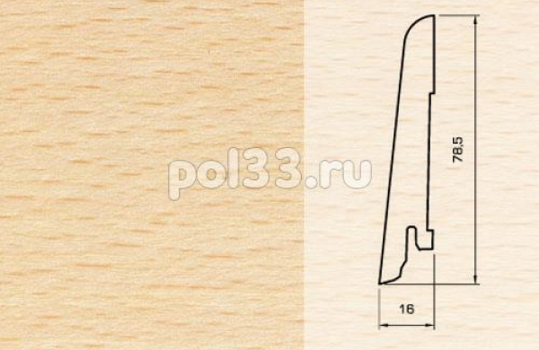 Плинтуса и пороги Pedross Шпонированный 80/16мм Бук