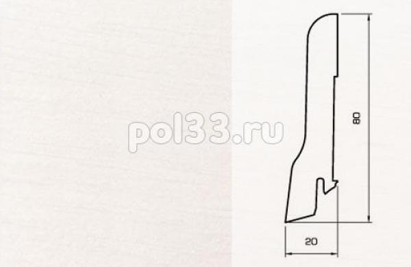 Плинтуса и пороги Pedross Шпонированный 80/20мм Белый гладкий