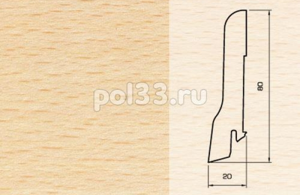 Плинтуса и пороги Pedross Шпонированный 80/20мм Бук