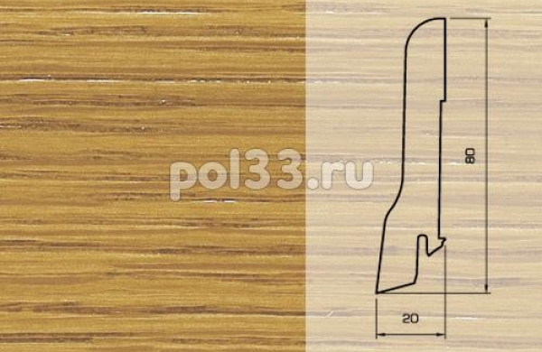 Плинтуса и пороги Pedross Шпонированный 80/20мм Дуб
