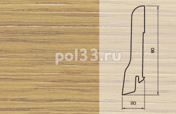 Плинтуса и пороги Pedross Шпонированный 80/20мм Дуб без покрытия