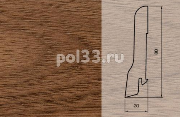 Плинтуса и пороги Pedross Шпонированный 80/20мм Орех