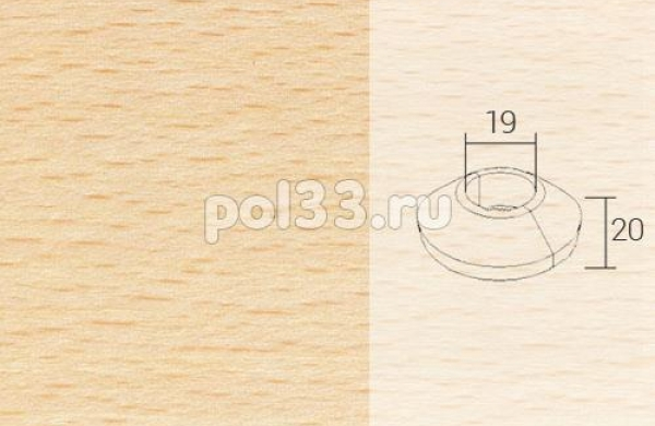 Плинтуса и пороги Pedross Кольцо массивное 19x20 Бук