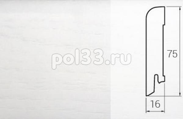Плинтуса и пороги DL Profiles Шпонированный 75х16 мм Белый гладкий 2