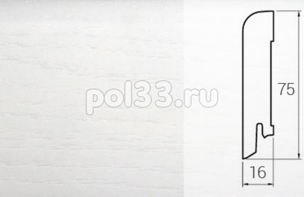Плинтуса и пороги DL Profiles Шпонированный 75х16 мм Дуб белая эмаль 580