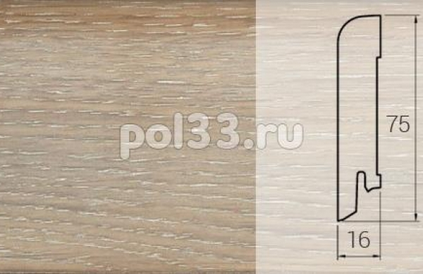 Плинтуса и пороги DL Profiles Шпонированный 75х16 мм Дуб белый P4