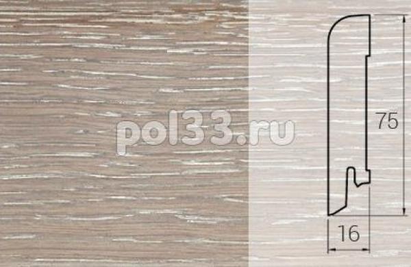 Плинтуса и пороги DL Profiles Шпонированный 75х16 мм Дуб дымчатый глянец 022