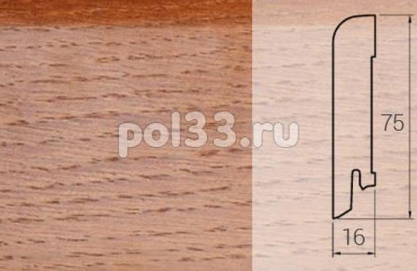 Плинтуса и пороги DL Profiles Шпонированный 75х16 мм Дуб карамель 010