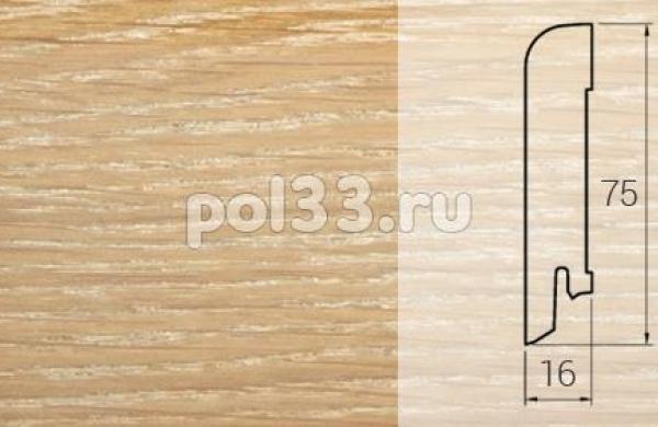 Плинтуса и пороги DL Profiles Шпонированный 75х16 мм Дуб копченый белый 023