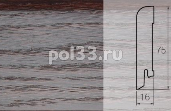 Плинтуса и пороги DL Profiles Шпонированный 75х16 мм Дуб термо 033