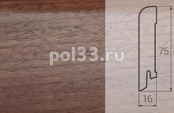 Плинтуса и пороги DL Profiles Шпонированный 75х16 мм Орех светлый 018