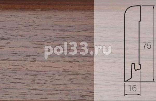 Плинтуса и пороги DL Profiles Шпонированный 75х16 мм Орех темный C16