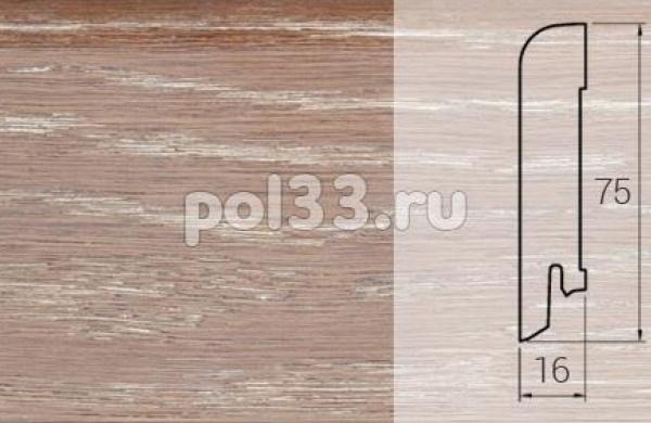 Плинтуса и пороги DL Profiles Шпонированный 75х16 мм Ясень Барокко 016