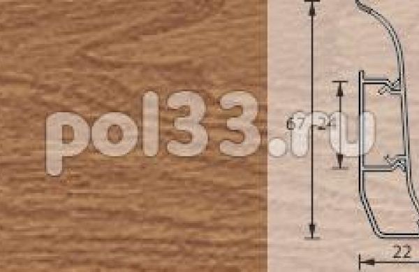Плинтус Ideal Элит 206 Дуб коньячный