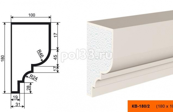 Карниз Lepninaplast (Лепнинапласт) КВ-180/2