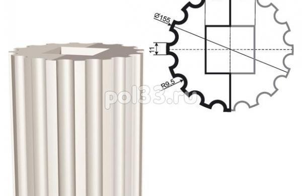Колонна Lepninaplast (Лепнинапласт) 2-КЛВ-155-3 2000 мм