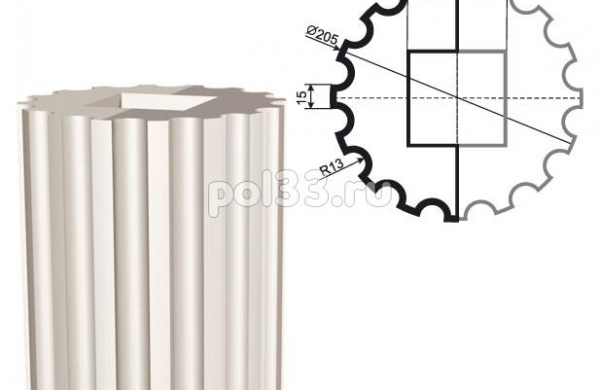 Колонна Lepninaplast (Лепнинапласт) 2-КЛВ-205-3 2500 мм