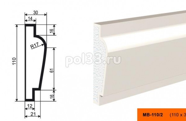 Молдинг Lepninaplast (Лепнинапласт) МВ-110-2