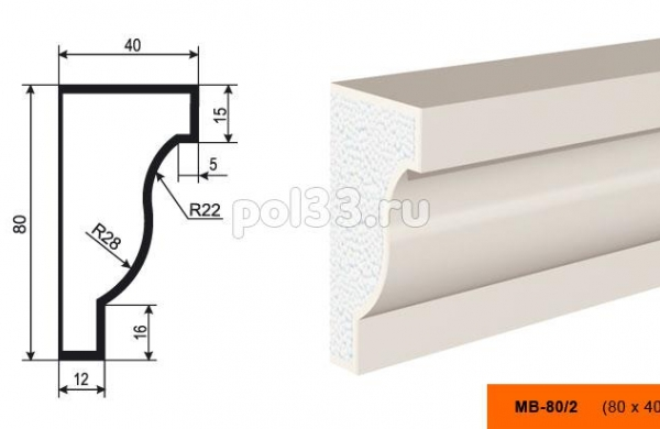 Молдинг Lepninaplast (Лепнинапласт) МВ-80-2