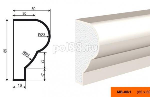 Молдинг Lepninaplast (Лепнинапласт) МВ-85-1