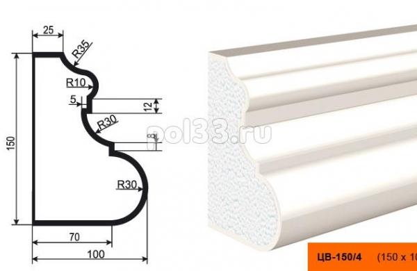 Молдинг цокольный Lepninaplast (Лепнинапласт) ЦВ-150-4