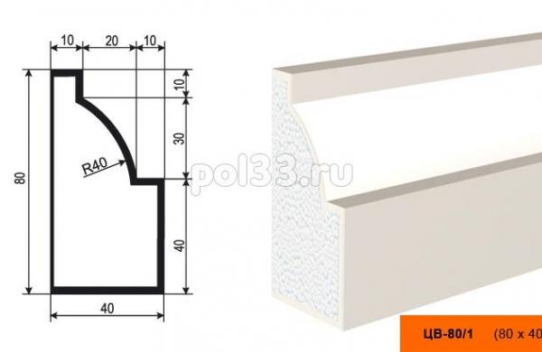 Молдинг цокольный Lepninaplast (Лепнинапласт) ЦВ-80-1