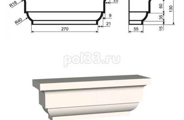 Пилястра Lepninaplast (Лепнинапласт) ПЛВ-250-1