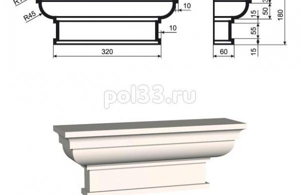 Пилястра Lepninaplast (Лепнинапласт) ПЛВ-300-1