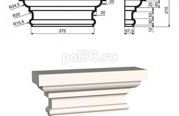 Пилястра Lepninaplast (Лепнинапласт) ПЛВ-350-1