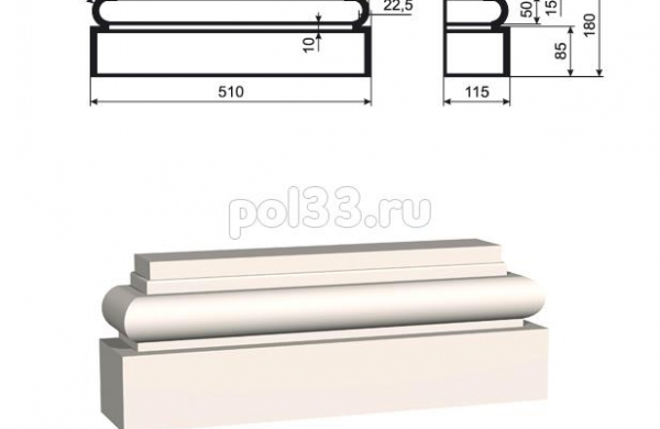 Пилястра Lepninaplast (Лепнинапласт) ПЛВ-400-6