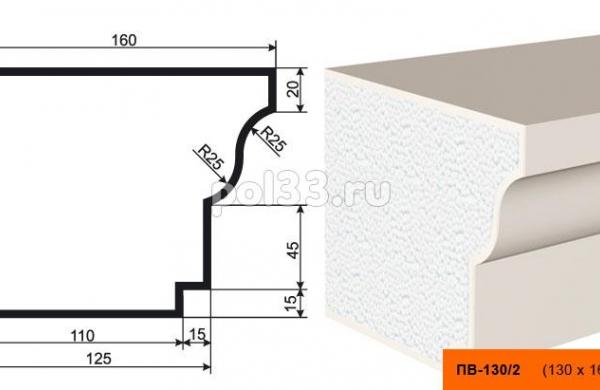 Подоконник Lepninaplast (Лепнинапласт) ПВ-130-2