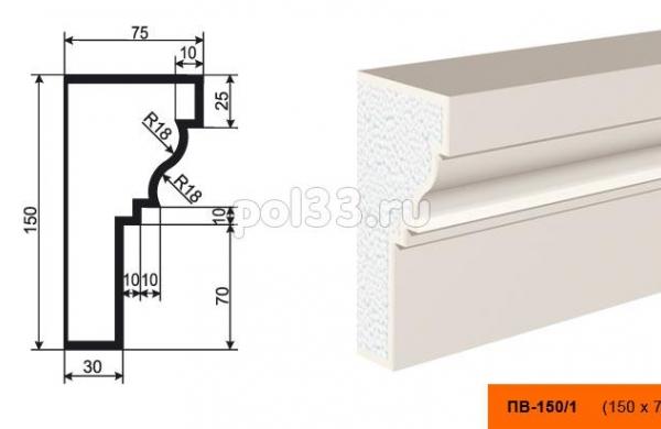 Подоконник Lepninaplast (Лепнинапласт) ПВ-150-1