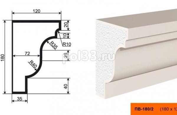 Подоконник Lepninaplast (Лепнинапласт) ПВ-180-2