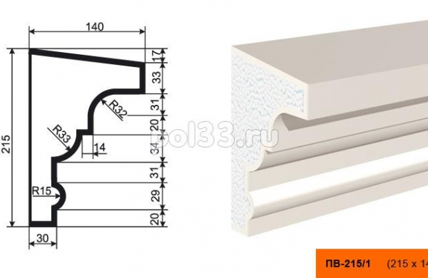 Подоконник Lepninaplast (Лепнинапласт) ПВ-215-1