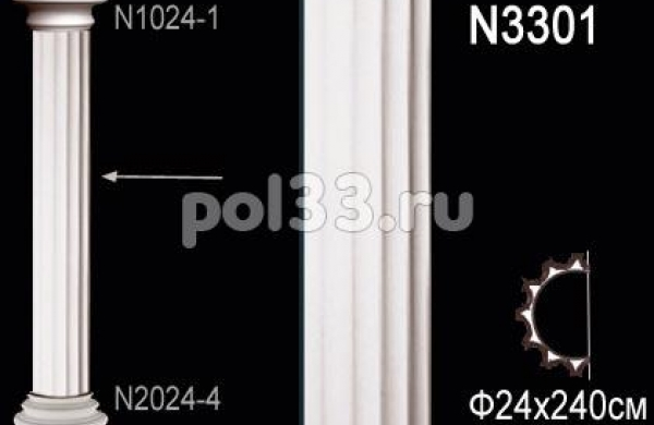 Лепной декор Perfect Полуколонна N3301